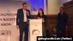Олег Сенцов получил премию имени Сергея Магнитского на церемонии в Лондоне, 14 ноября 2019 года