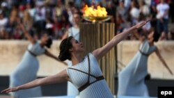 Brasil recibió en una ceremonia en Grecia la llama olímpica para los juegos de Río de Janeiro el miércoles, 27 de abril de 2016.