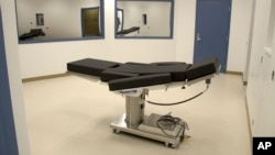 FILE - This Nov. 10, 2016, photo released by the Nevada Department of Corrections, shows the execution chamber at Ely State Prison in Ely, Nev.