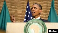 Tổng thống Obama đọc diễn văn tại trụ sở Liên hiệp Châu Phi ở Addis Ababa, Ethiopia, ngày 28/7/2015.