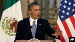 奥巴马总统5月2日在墨西哥城举行的记者会上