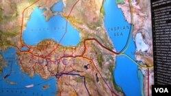 Xəzər, Qara və Aralıq dənizləri hövzəsindəki neft-qaz kəmərlərinin xəritəsi
