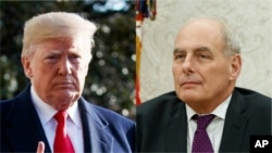 FILE - President Donald Trump and Chief of Staff John Kelly.