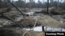 Незаконная добыча янтаря в Ровенской области Украины