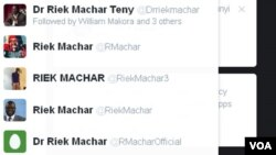 Several accounts on social media site, Twitter, include derivations of South Sudan opposition leader Riek Machar's name.