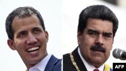 Ifoto w'uwutavugarumwe na reta Juan Guaido (Ibubamfu) hamwe na perezida Nicolas Maduro (Iburyo).