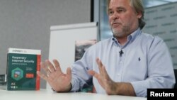FILE - Eugene Kaspersky, Chief Executive of Russia's Kaspersky Lab, speaks during an interview with Reuters in Moscow, Russia, Oct. 27, 2017.