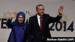 Turkiya bosh vaziri Rajab Toyib Erdog'an va rafiqasi Amina, Anqara, 1-iyul, 2014-yil