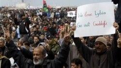 Libyans demonstrating against Moammar Ghadafi on Friday in Benghazi