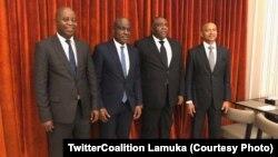 Adoplhe Muzito, Martin Fayulu, Jean-Pierre Bemba mpe Moïse Katumbi na bokutani, na photo etiyami na Twitter ya Lamuka, 27 mars 2020. (TwitterCoalition Lamuka)