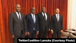 Adoplhe Muzito, Martin Fayulu, Jean-Pierre Bemba mpe Moïse Katumbi na bokutani, na photo eiytami na Twitter ya Lamuka, 27 mars 2020. (TwitterCoalition Lamuka)
