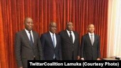 Adolphe Muzito, Martin Fayulu, Jean-Pierre Bemba et Moïse Katumbi lors d'une réunion de Lamuka, 27 mars 2020. (Twitter Coalition Lamuka) (TwitterCoalition Lamuka)