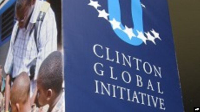 Sign outside BankUnited center where Clinton Global Initiative is being held at the University of Miami in Coral Gables, Florida, 17 Apr 2010