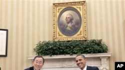 奧巴馬總統星期一在白宮接見聯合國秘書長潘基文