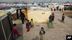 지난 22일 레바논 사드나옐 마을의 시리아 난민촌.
