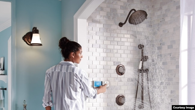 "The ""U"" digital shower by Moen allows users to voice activate the shower and change water direction and flow. (Moen)"