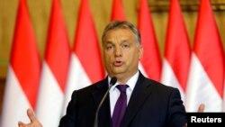 匈牙利总理维克多·奥班在布达佩斯的记者会上(2016年10月4日))