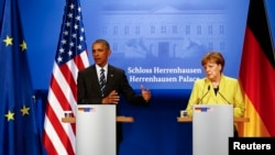 Američki predsednik Barak Obama i nemačka kancelarka Angela Merkel na današnjoj konferenciji za štampu u Hanoveru, 24. april, 2016.