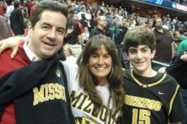 University of Missouri fan Susie Barnello with her family at a March Madness game in Washington, D.C.