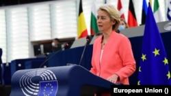 Президентка Європейської комісії, виконавчого органу Європейського Союзу, Урсула фон дер Ляєн виголошує промову «про стан союзу» у Європейському парламенті у Страсбурзі 15 вересня 2021 р.