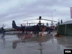 俄罗斯直升机离不开乌克兰。6月份莫斯科武器展上展出的武装直升机。