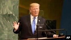 도널드 트럼프 미국 대통령이 19일 미국 뉴욕에서 열린 유엔총회에서 연설하고 있다.