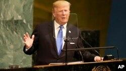 သမၼတ Donald Trump ကုလသမဂၢမွာ မိန္႔ခြန္း ေျပာၾကားေနစဥ္။