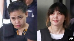 In this combination of photos, Indonesian Siti Aisyah, left, and Vietnamese Doan Thi Huong, right, are escorted by police as they leave their court hearing at Shah Alam court house in Shah Alam, outside Kuala Lumpur, Malaysia, Oct. 2, 2017