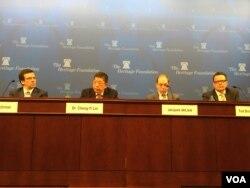 华盛顿保守派智库传统基金会2月8日就台湾参与国际组织的问题举行座谈会 (美国之音钟辰芳拍摄)