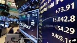 紐約證券交易所大廳的指示牌顯示,道瓊斯工業指數在5月7日的交易中越過1萬5千點大關