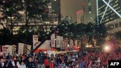 香港泛民主派启动变相全民公投举行造势晚会