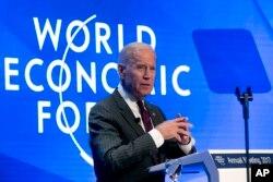 U.S. Vice President Joe Biden speaks during an event prior to the World Economic Forum in Davos, Switzerland, Jan. 16, 2017.