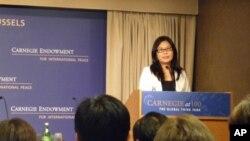 台湾陆委会主委赖幸媛在研讨会上发言