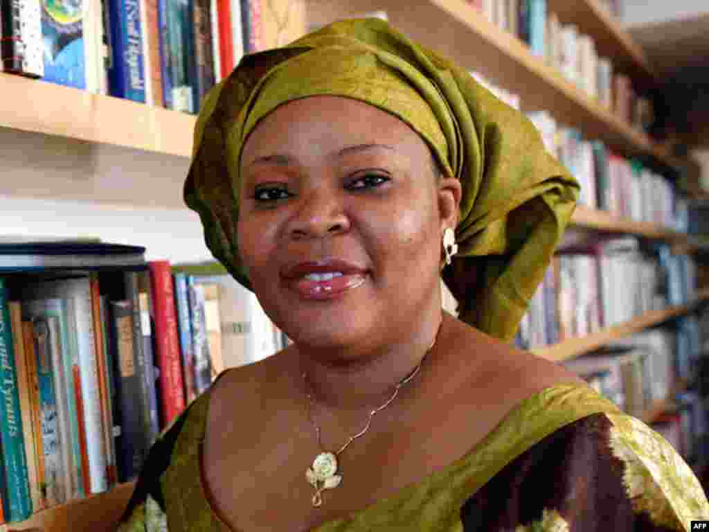 "Nobel Peace Prize winner Leymah Gbowee poses in New York October 7, 2011. Ellen Johnson-Sirleaf, Africa's first freely elected female head of state, shared the $1.5 million with compatriot Leymah Gbowee, who led a ""sex strike"" among her efforts against Li"