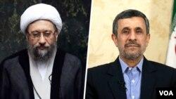 در هفته های اخیر جنگ کلامی احمدی نژاد و صادق لاریجانی افزایش یافته است.