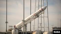 12月17號軌道科學公司安塔瑞斯的火箭已經安置在發射台上