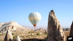 A hot air balloon over Goreme, Turkey