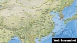 美國地質調查局最新發布的中國九寨溝縣地震地點顯示圖(2017年8月8日)