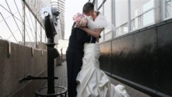 A couple who won a chance to wed on the 86th floor of the Empire State Building in New York on Valentine's Day, February 14