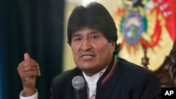 Bolivia's President Evo Morales speaks during a press conference at the government palace in La Paz, Bolivia, Feb. 24, 2016. By a slim margin, voters rejected his attempt to run a fourth consecutive term in 2019.