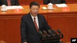 시진핑 중국 국가주석이 1일 베이징 인민대회당에서 열린 인민해방군 건군 90주년 기념대회에서 연설하고 있다.