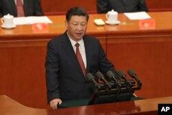 시진핑 중국 국가주석이 1일 베이징 인민대회당에서 열린 인민해방군 창설 90주년 기념행사에서 연설하고 있다.