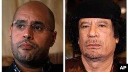 Hotunan Shugaban kasar Libya Moammar Gadhafi,da dansa Saif-al-Islam.