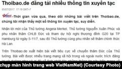 VNNet nói Thoibao.de đăng tải thông tin 'xuyên tạc' về chuyến thăm của Thủ tướng Nguyễn Xuân Phúc tới Đức. (Ảnh chụp màn hình trang web VietNamNet)