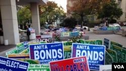 Quảng cáo của các ứng cử viên tại thủ đô Washington.