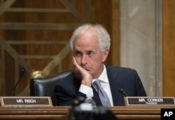Senate Foreign Relations Committee Chairman Bob Corker, R-Tenn., pauses during a hearing on the crisis in Myanmar during a day of derisive name-calling with President Donald Trump, on Capitol Hill in Washington, Oct. 24, 2017.