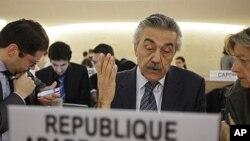 敘利亞外長在聯合國會議上。