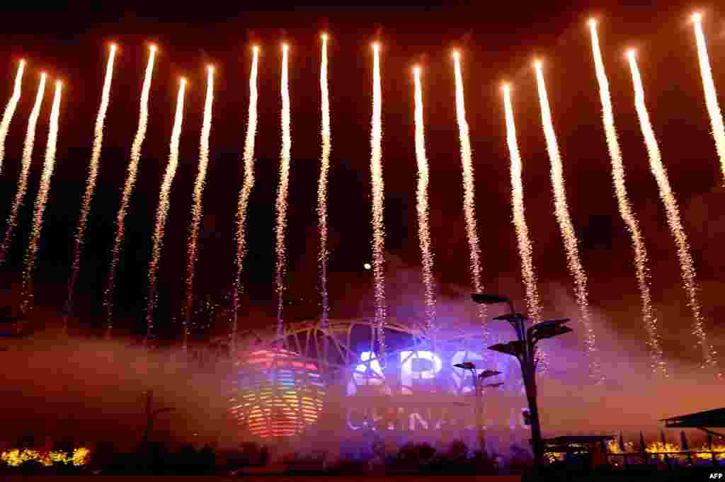 A fireworks show takes place during the Asia-Pacific Economic Cooperation (APEC) summit in Beijing, China.