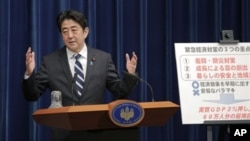Thủ tướng Nhật Bản Shinzo Abe nói chuyện tại một cuộc họp báo ở Tokyo, 11/1/13