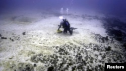 A diver inspects damage caused by a Chinese bulk coal carrier that ran aground on the Great Barrier Reef, east of Great Keppel Island, April 13, 2010.